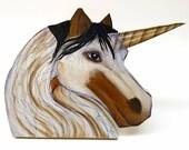 Paint Unicorn Woodcut Plaque #3
