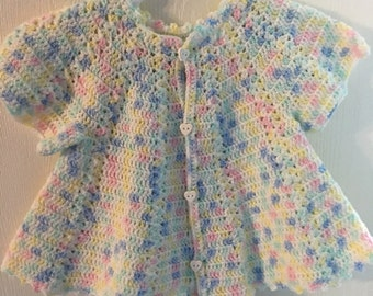 Hand Crocheted Baby Sweater Dress in Pastels Heart Buttons Size 9-12 Months