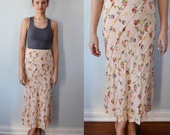 Vintage April Cornell Blush Bias Cut Skirt, Vintage Skirt, April Cornell, Floral Skirt, Summer, Casual