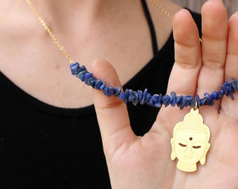 Buddha Necklace, Lapis Necklace, Moonstone Necklace, Spiritual Jewelry, Yoga Necklace, Meditation Jewelry, Buddha Jewelry, Zen Necklace