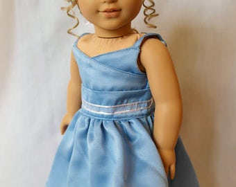 Cinderella Blue: A Blue Wrap-Top Party Dress for 18-inch Dolls
