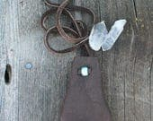 Leather neck pouch , Buckskin medicine bag ,  Leather crystal pouch, Leather amulet bag, Leather necklace bag, Leather medicine bag