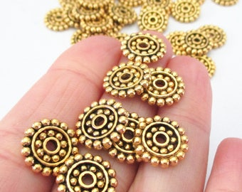 Gold Round Spacer Beads - Spotted Flat Disc Slider - Hobnail Edged - Saucer Shape Metal Bead Cap - Diy Jewelry Supplies - 25 Pcs - 14mmx2mm