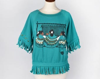 Weaving Women Turquoise Southwestern Short Sleeve Sweatshirt with Fringe