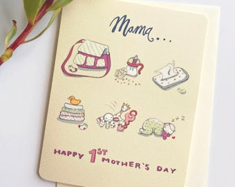 First Mothers Day Card - Mothers Day cards - 1st Mothers Day - New Mom Gift - New Baby Card - Funny Mothers Day Card - Mother's Day Card