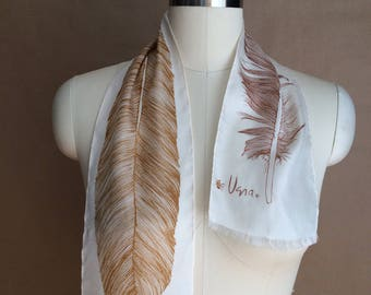 vintage feather scarve / feather scarf / Vera scarf / ombre / earthtones / gorgeous