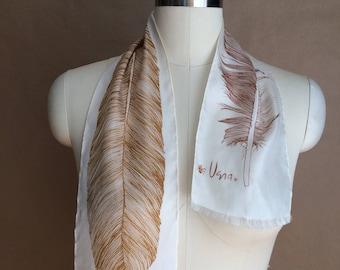 SALE! vintage feather scarve / feather scarf / Vera scarf / ombre / earthtones / gorgeous