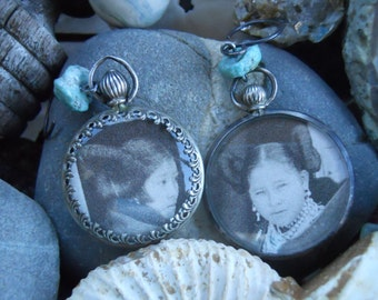 Peaceful Little Ones                    Antique Photo Glass Locket Hopi Turquoise Earrings