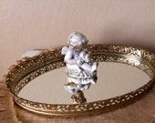 Vintage Gold Filigree Oval Dresser Vanity Mirror Tray
