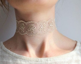 Dainty Choker Necklace - Cream Colored Lace Choker Necklace