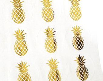 GOLD FOIL Pineapple stickers - tropical pineapple gold stickers for packaging, penpal letters, luau party invitations, care packages