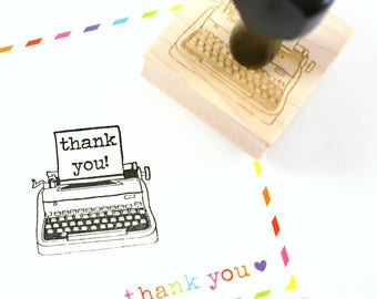Shop Exclusive rubber stamp - THANK YOU! vintage typewriter stamp