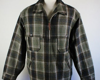 Mens Jacket. Loden Jacket. Green Heather Plaid  Jacket. Zipper Coat. Rugged Jacket. Fall Winter Jacket. Mens Xl. GOGOVINTAGE. FREE SHIPPING