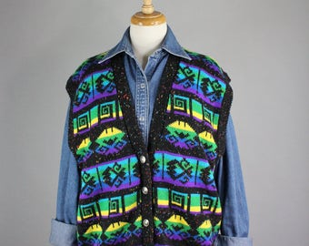 Vintage 80s Womens Navajo Multicolored Sweater Vest, Ethnic, Aztec, Spring, Wear to Work, Southwest, Plus Size, Tribal, Size Large