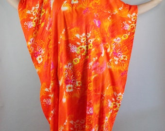 60s 70s Caftan, Bright Neon Orange Floral Festival Caftan, Pool Caftan, Hippie, Boho, Rare Print, Mod Caftan, Plus Size Dress, FREE SHIPPING