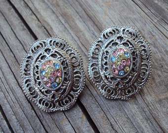 Oval Decorative Silvertone, Pastel Color Rhinestones, Pink, Blue, Yellow, Vintage Pierced Post Earrings