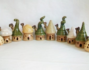 Garden Fairy Houses - You Pick  2-10 or more - Houses/Tree - Handmade on the Potters Wheel - Houses Ready Soon, In Production - You Choose