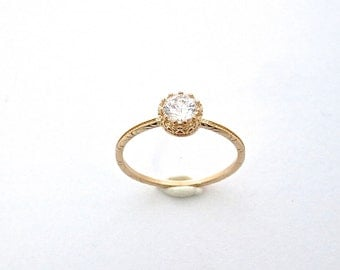 Zirconia Ring, Gold Ring, Princess Ring, Stacking Rings, Gold Stone Ring, Simple Ring, Crystal Ring, Engagement Ring, Gold Jewelry, Rings