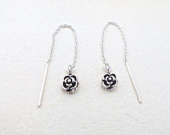 Womens Earrings, Silver Rose Earrings, Silver Dangle Earrings, Unique Earrings, 925 Sterling Silver, Handmade Earrings, Vintage Jewelry