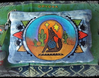 DESERT SPIRIT purse Denim CLUTCH Tribal Cactus Hand painted Wallet Howling Wolf Womens purse Colorful Hippie Boho Ibiza surf style GPyoga