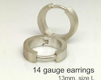 14 gauge silver hoop earrings, men's gauged earrings, 14G cartilage earring, sterling silver gauged earrings, 14G hoops, E190MN 14G