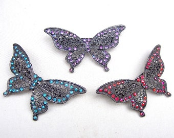 3 rhinestone hair barrettes butterfly hair accessories hair clip hair slide hair jewelry hair ornament