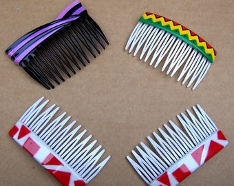 4 vintage Karina hair combs hair accessories 1980s geometric theme hair jewelry decorative comb (ABC)