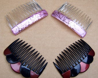 4 vintage Karina hair combs hair accessories 1980s multi coloured theme hair jewelry decorative comb (ABF)