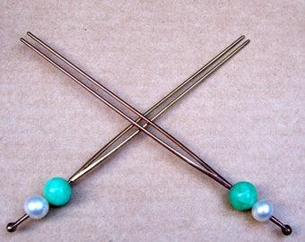 2 Japanese kanzashi hair pins faux jade hair accessories geisha ball top hair pick hair fork hair stick (AAB)