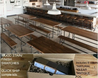 Reclaimed Restaurant Table, Wood Communal Table, Harvest Table. Purchase wood finish/stain sample kit to try B4 you buy