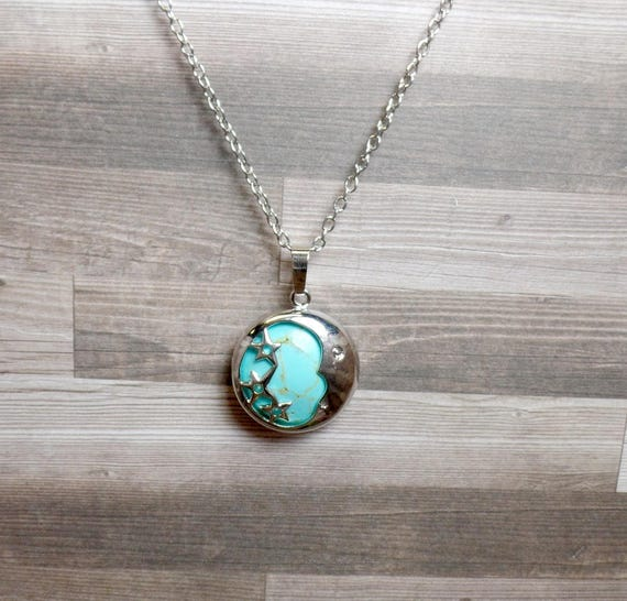 Turquoise Moon & Stars Necklace - Blue Moon - Gemstone Necklace - Crescent Moon Necklace