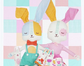 Easter Bunny Dolls and Accessories from the Spring Bunny Fun Collection by Stacy Iest Hsu for Moda, 1 Set