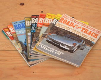 Vintage Set of Nine 1972 Road & Track, Classic Collector Car Magazines