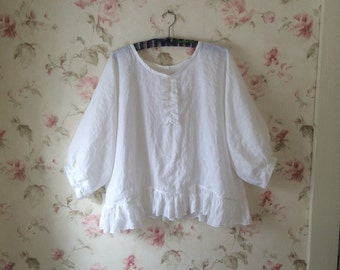 Washed Linen Shirt White Linen Blouse Romantic Tunic Sweet Prairie Lagenlook  Made To Order One Size up to 52 Bust