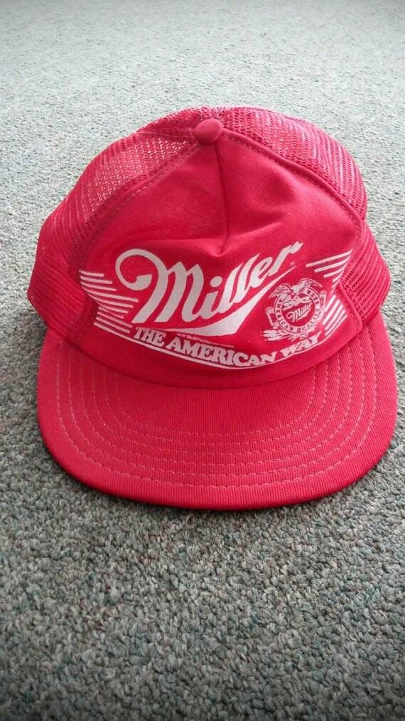 Miller Made the American Way - vintage 80s red snapback mesh trucker cap