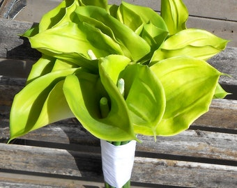 Green Calla Lily Bouquet for St Patricks Day Arrangement Birthday Gift or Wedding