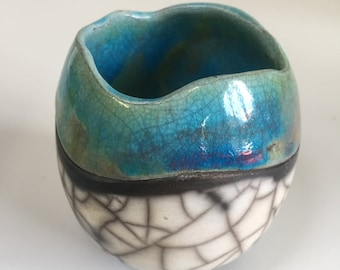 Turquoise Crackle Raku Pot Handmade in Cornwall