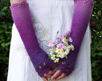 Long Fingerless Gloves Extra Long Knitted Mittens Purple Arm Warmers Warm Crochet Gloves Winter Wrist Warmer Lavender Knit Glove Womens Gift
