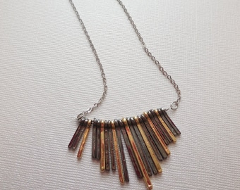 Silver and gold bar metal fringe pendant necklace