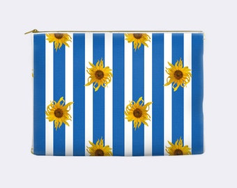 Floral cosmetic bag, blue and white striped pencil pouch, sunflowers pencil case, makeup bag, make up bag, large, zippered pouch
