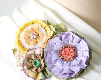 Statement Jewelry, Gift for Her, Colorful Fabric Flower Brooch, Shawl Pin, Wedding Dress Floral Sash Pin, Wearable Art Pin, Textile Brooch,