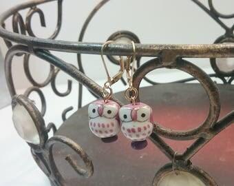 Shy Owls - Porcelain Owl Earrings Kawaii Woodland