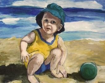 "Art Print ""Beach Baby Boy"", Print of my original painting, Little Boy portrait, seascape,summer, beach, lake,8X10 fine art paper handsigned"
