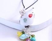 Mouse Phone Charm - White Mouse, Kawaii Cute Animal Bead, Czech Glass Flowers, Headphone Jack Dust Plug or Purse Charm