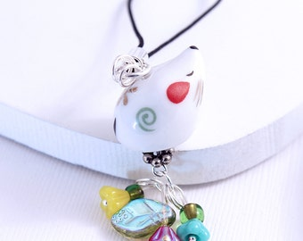 Mouse Phone Charm - White Mouse, Kawaii Cute Animal Bead, Czech Glass Flowers, Headphone Jack Dust Plug or Purse Charm