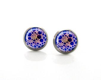 Rich purple and gold minimalist design Titanium Post Earrings | Hypoallergenic Earring Stud | Titanium Earring Stud Sensitive jewelry post