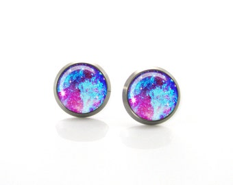 Pure Titanium Jewelry Earrings for sensitive ears Space Galaxy Pink Blue Turquoise Cosmos Nebula | Hypoallergenic Titanium Earring Stud