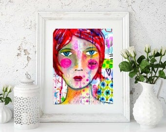 It's Lovely Mixed Media Girl Giclee Art Print Original Art Print 8x10