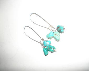 Turquoise Nuggets Earrings Desert Gypsy/ Hippie Chic- Vintage 70s Dangle Style
