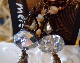 Moonstone Magic Earrings for Women, Handmade Etsy Jewelry, Accessories, Boho Chic, Crystal and Pearl, Dangles, Birthday, Anniversary, OOAK